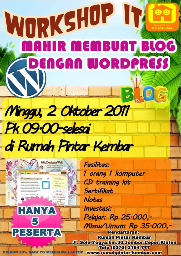 workshop mahir membuat blog - wordpress