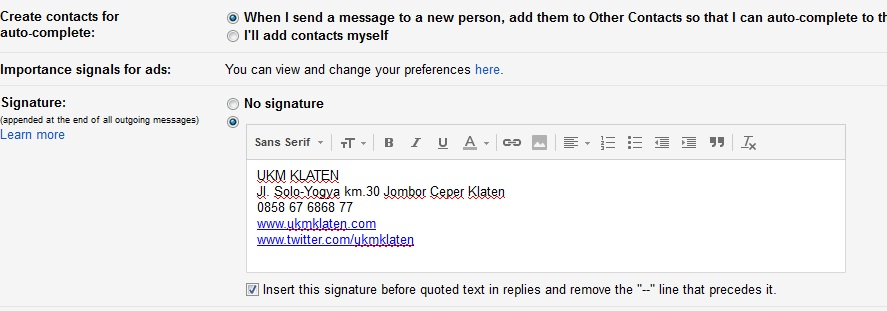 tutorial signature gmail