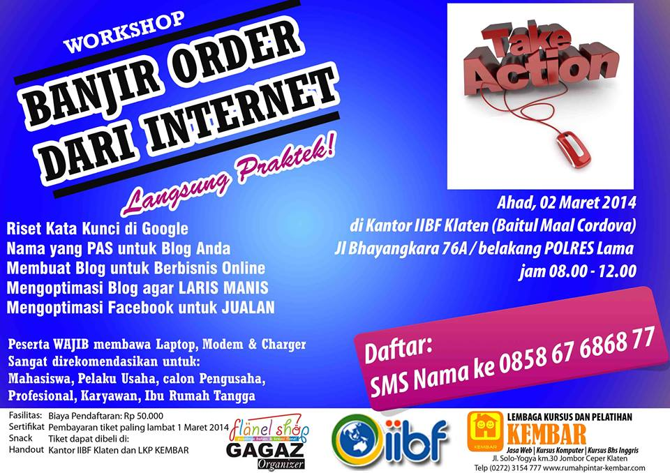 workshop bisnis online - workshop banjir order dari internet - workshop blog dan optimasi