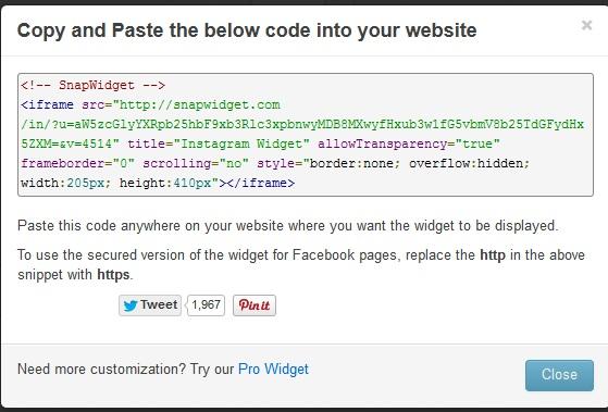 Cara Menampilkan Foto Instagram di Widget Web 2