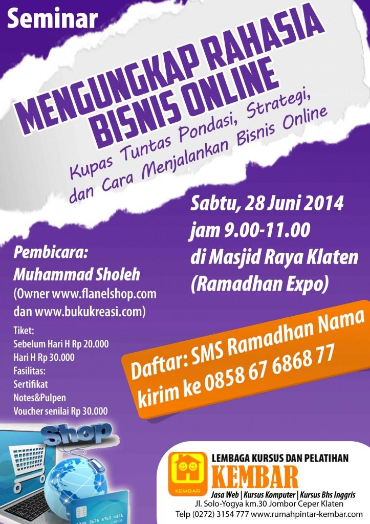 seminar mengungkap rahasia bisnis online ramadhan klaten juni 2014 kursus komputer LKP KEMBAR