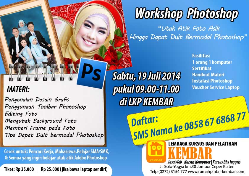 workshop photoshop - pelatihan photoshop - pelatihan komputer - kursus komputer