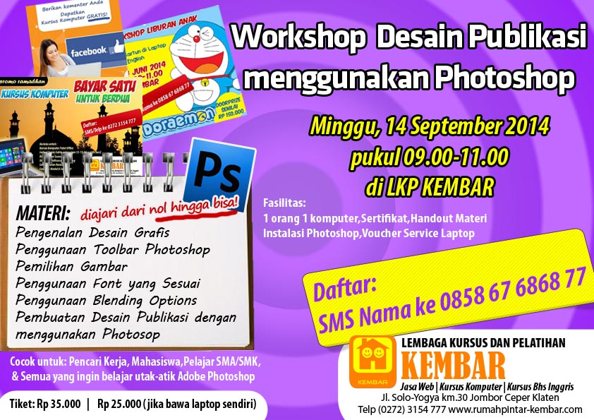 workshop desain publikasi dengan photoshop - workshop photoshop - pelatihan photoshop - kursus photoshop LKP KEMBAR Klaten