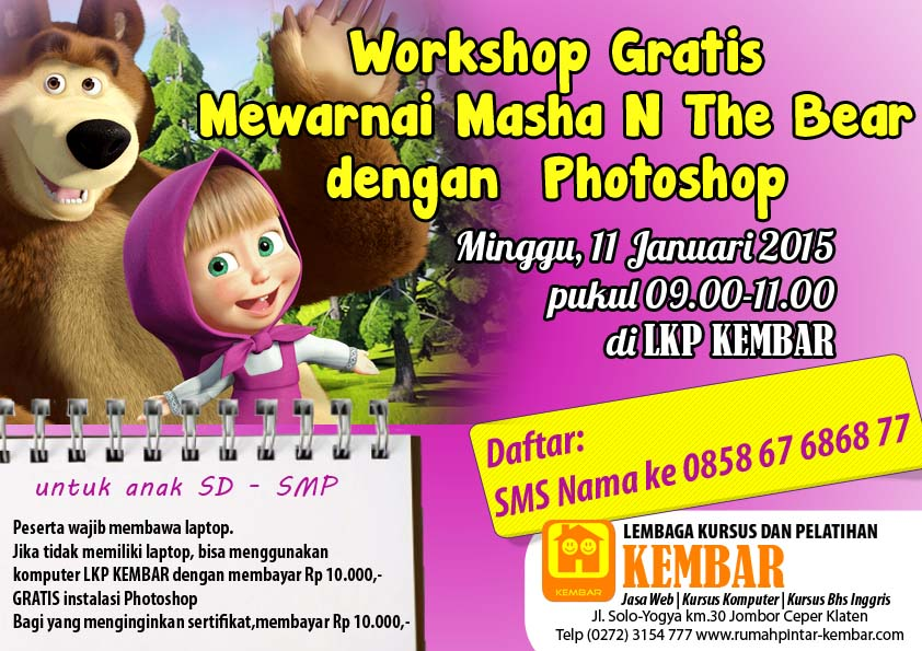 workshop gratis mewarnai masha n the bear dengan photoshop