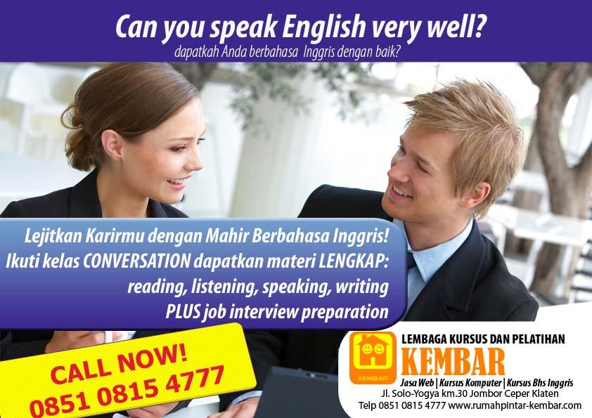 promo english - kursus bahasa inggris klaten - kursus conversation klaten - kursus job interview klaten