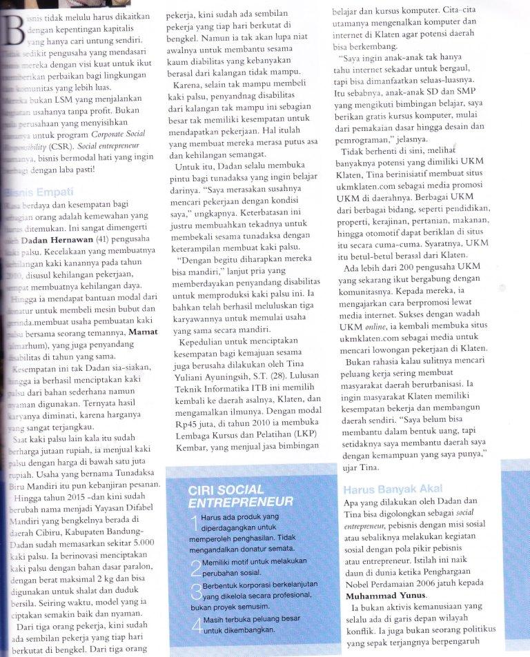 Kursus Komputer LKP KEMBAR dan UKM KLATEN di majalah femina