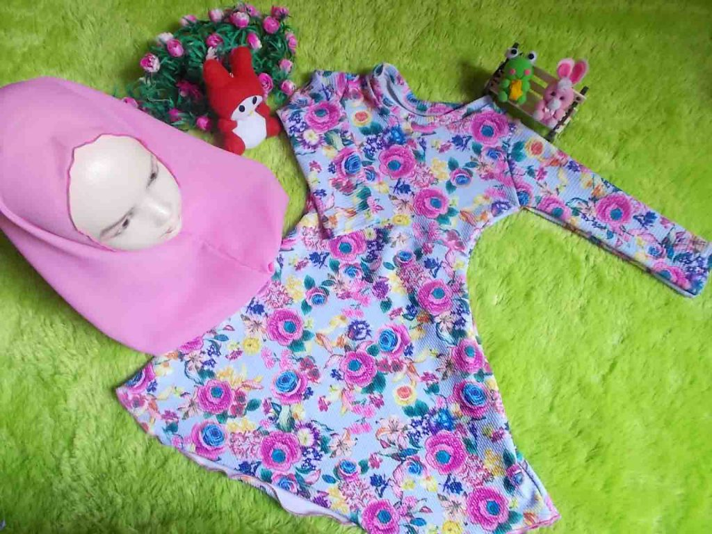 PLUS KHIMAR Gamis Bayi Wafel 1-2th EksklusiF Kembang Pink