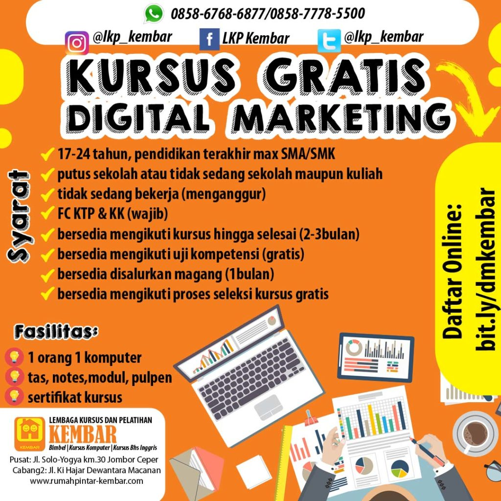 kursus gratis digital marketing 2021 lkp kembar klaten