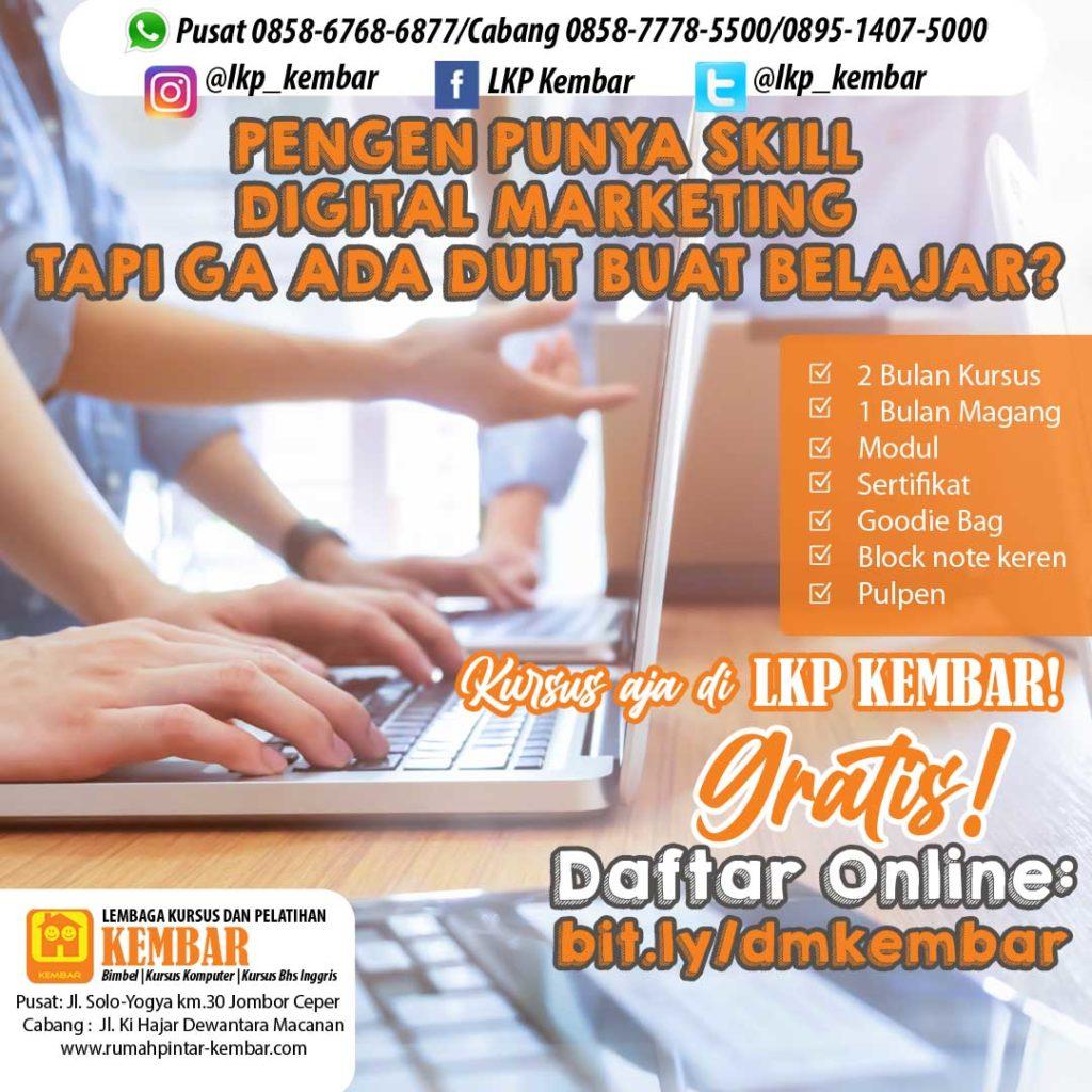 kursus komputer gratis di klaten 2021 digital marketing