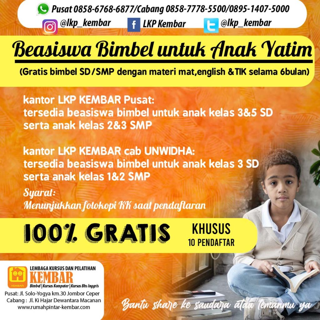 program anak yatim beasiswa bimbel sd smp