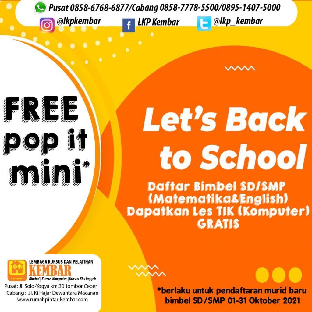 promo bimbel oktt free pop it