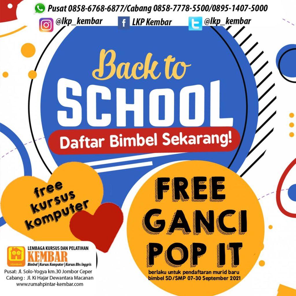 promo bimbel sept free pop it SD SMP KLATEN LES