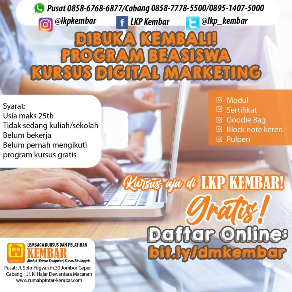 beasiswa kursus gratis digital marketing
